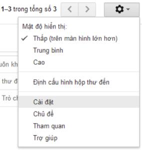 Chuyển đổi ngôn ngữ hiển thị Email - timoday.edu.vn