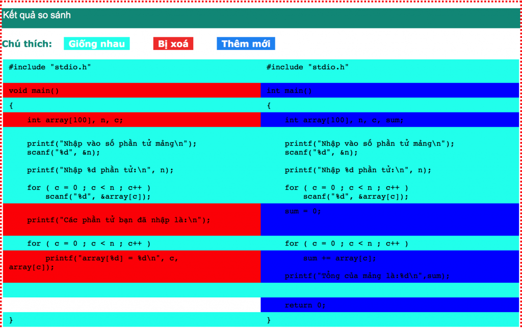 So sánh hai đoạn code