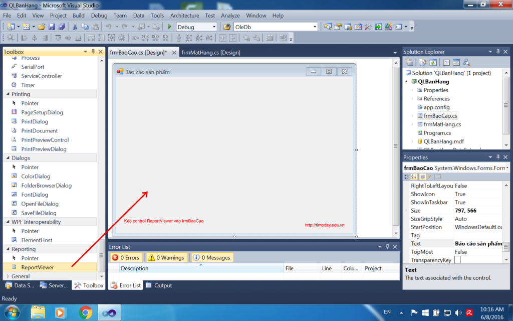 Kéo control ReportViewer vào Form