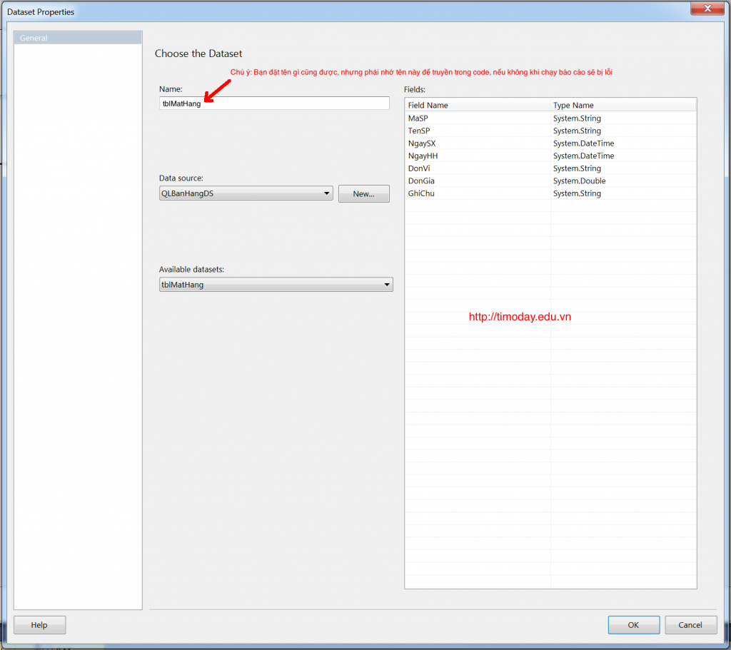 Cấu hình DataSet cho Report