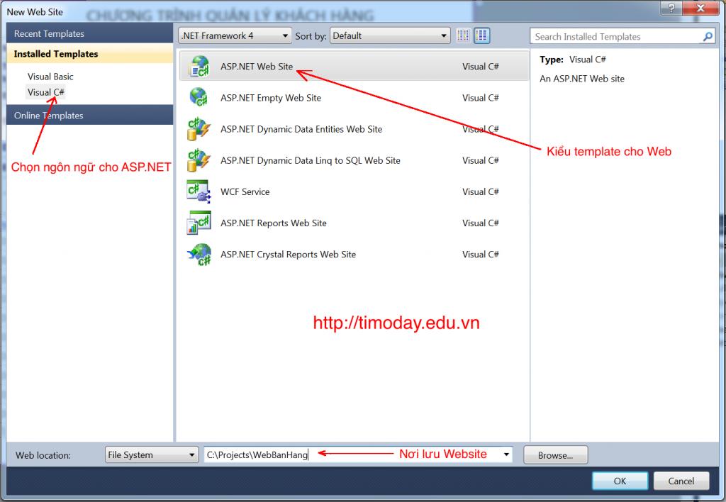 Tạo mới một web site với Visual Studio