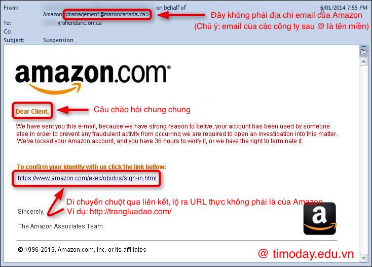 Gửi email giống như của Amazon để lừa khách hàng