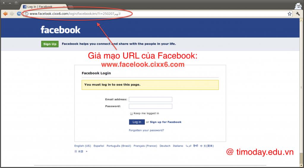 Tạo giao diện giống hệt Facebook để lừa người sử dụng đăng nhập