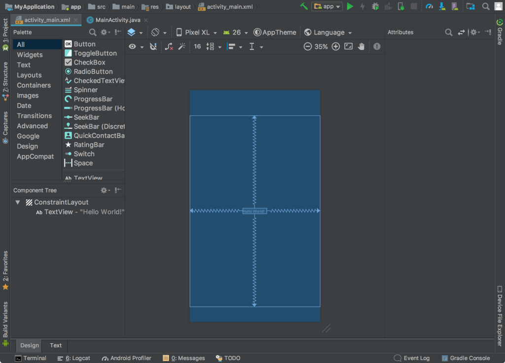 Cửa sổ Layout Editor Android Studio