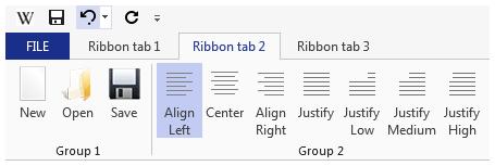 Ví dụ sử dụng Control Ribbon