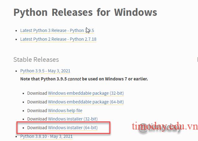 Gói python cho hệ điều hành 64 bit